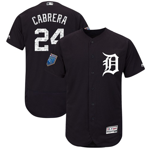 Detroit Tigers #24 Miguel Cabrera Navy Blue 2018 Spring Training Authentic Flex Base Stitched MLB Jersey