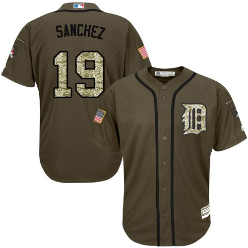 Detroit Tigers #19 Anibal Sanchez Green Salute to Service Stitched MLB Jersey