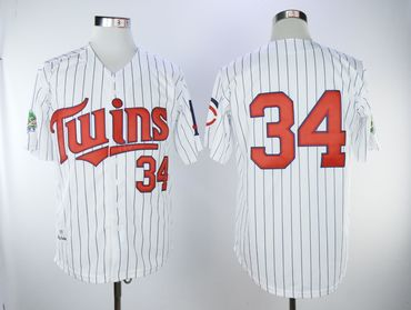 080bb20e6f4 Minnesota Twins #34 Kirby Puckett Cream Strip Cool Base Stitched MLB Jersey