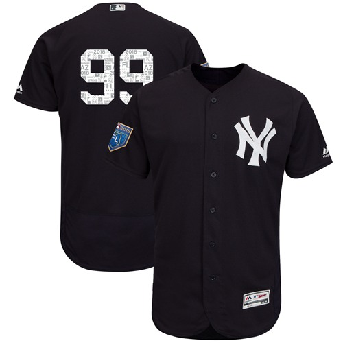 New York Yankees #99 Aaron Judge Navy Blue 2018 Spring Training Authentic Flex Base Stitched MLB Jersey