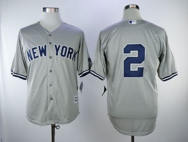 New York Yankees #2 Derek Jeter Gray Cool Base Jersey