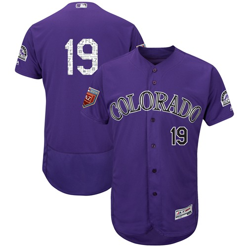 Colorado Rockies #19 Charlie Blackmon Purple 2018 Spring Training Authentic Flex Base Stitched MLB Jersey