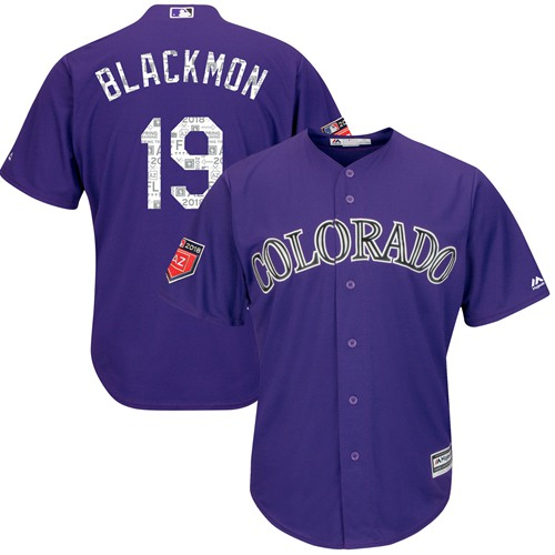Colorado Rockies #19 Charlie Blackmon Purple 2018 Spring Training Cool Base Stitched MLB Jersey