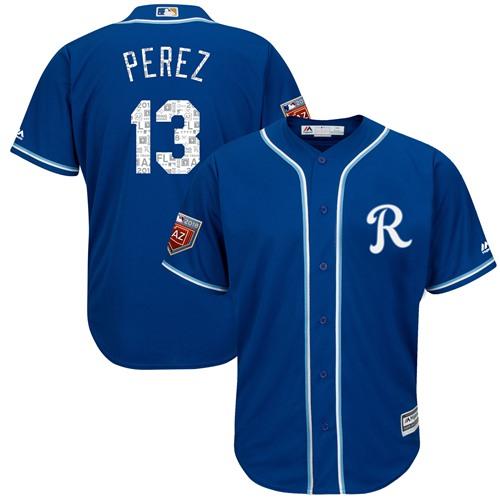 Kansas City Royals #13 Salvador Perez Royal Blue 2018 Spring Training Cool Base Stitched MLB Jersey