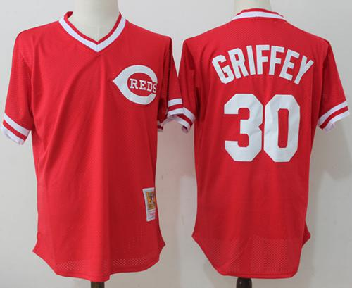 Size 5XL Mitchell And Ness Reds #30 Ken Griffey Red Throwback Stitched MLB Jersey