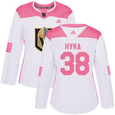 Adidas Vegas Golden Knights #38 Tomas Hyka White Pink Authentic Fashion Women's Stitched NHL Jersey