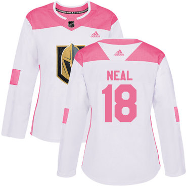 Adidas Vegas Golden Knights #18 James Neal White Pink Authentic Fashion Women's Stitched NHL Jersey