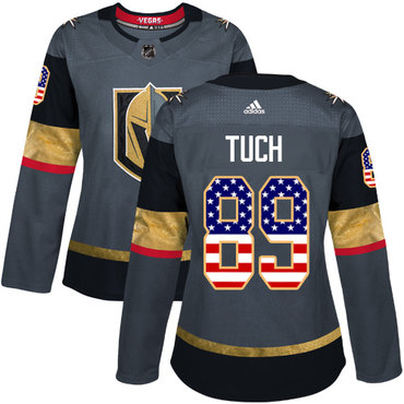 Adidas Vegas Golden Knights #89 Alex Tuch Grey Home Authentic USA Flag Women's Stitched NHL Jersey