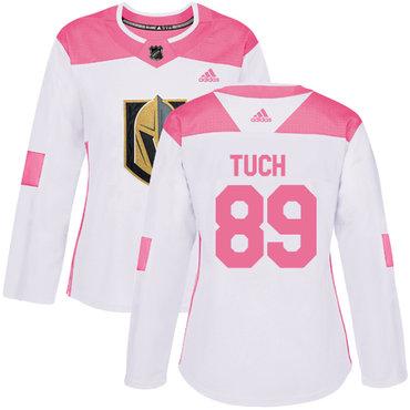Adidas Vegas Golden Knights #89 Alex Tuch White Pink Authentic Fashion Women's Stitched NHL Jersey