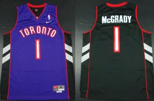 Size XXXXXL Toronto Raptors #1 Tracy McGrady Hardwood Classic Black With Purple Swingman Jersey