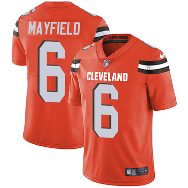 Nike Cleveland Browns #6 Baker Mayfield Orange Alternate Men\'s Stitched NFL Vapor Untouchable Limited Jersey
