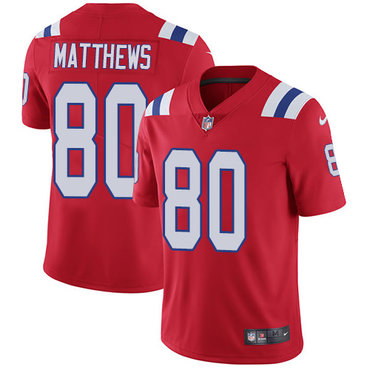 Nike New England Patriots #80 Jordan Matthews Red Alternate Men's Stitched NFL Vapor Untouchable Limited Jersey