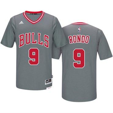 92fc68a867b Men s Chicago Bulls  9 Rajon Rondo Gray Short-Sleeved Stitched NBA Adidas  Revolution 30