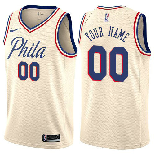 Nike Philadelphia 76ers Cream Customized City Edition Authentic NBA Jersey