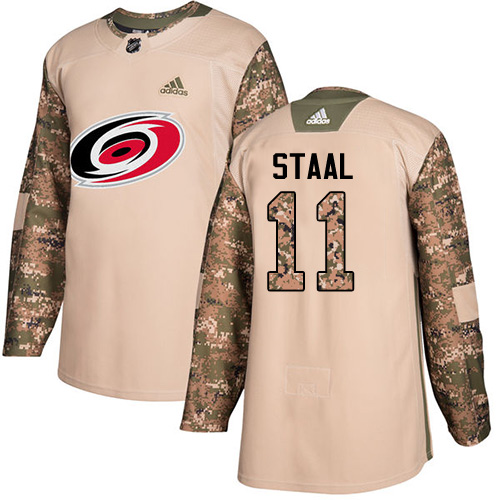 Adidas Hurricanes #11 Jordan Staal Camo Authentic 2017 Veterans Day Stitched Youth NHL Jersey