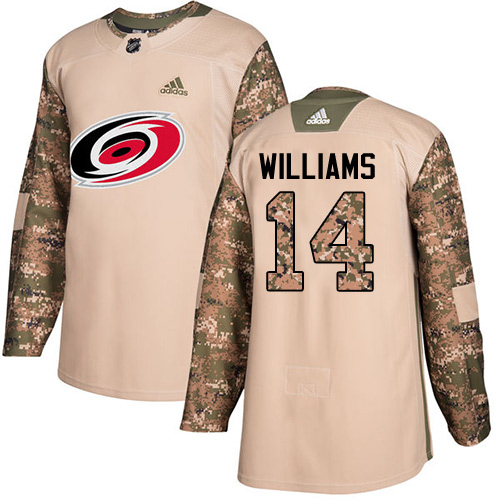 Adidas Hurricanes #14 Justin Williams Camo Authentic 2017 Veterans Day Stitched Youth NHL Jersey