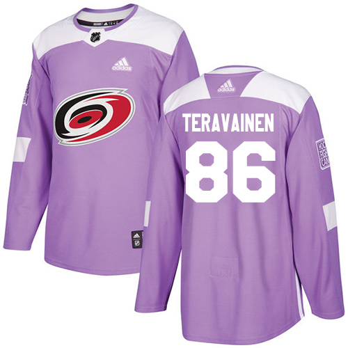 Adidas Hurricanes #86 Teuvo Teravainen Purple Authentic Fights Cancer Stitched Youth NHL Jersey