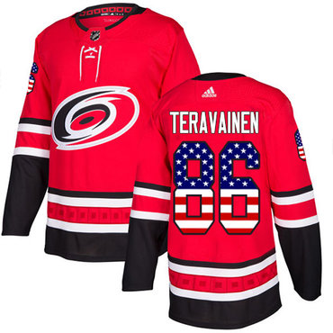 Adidas Hurricanes #86 Teuvo Teravainen Red Home Authentic USA Flag Stitched Youth NHL Jersey