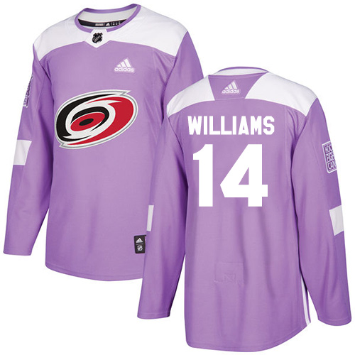 Adidas Hurricanes #14 Justin Williams Purple Authentic Fights Cancer Stitched Youth NHL Jersey