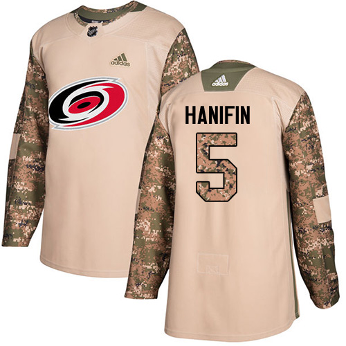 Adidas Hurricanes #5 Noah Hanifin Camo Authentic 2017 Veterans Day Stitched Youth NHL Jersey