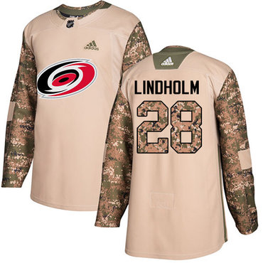 Adidas Hurricanes #28 Elias Lindholm Camo Authentic 2017 Veterans Day Stitched Youth NHL Jersey