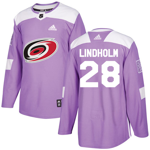 Adidas Hurricanes #28 Elias Lindholm Purple Authentic Fights Cancer Stitched Youth NHL Jersey
