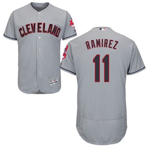 Men's Cleveland Indians #11 Jose Ramirez Grey Flexbase Authentic Collection Stitched MLB Jersey