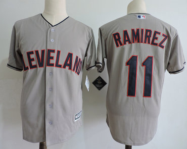 Men's Cleveland Indians #11 Jose Ramirez Gray Cool Base Jersey