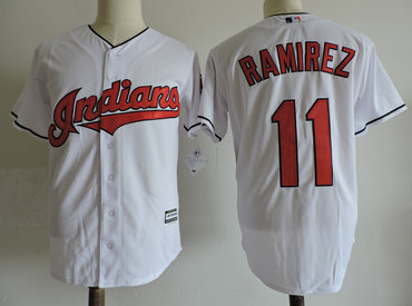 Men's Cleveland Indians #11 Jose Ramirez White Cool Base Jersey