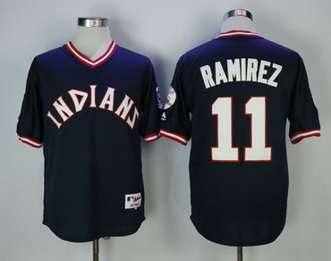 Men's Cleveland Indians #11 Jose Ramirez Navy Turn Back the Clock Jersey