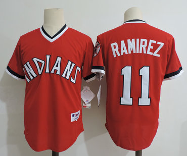 Men's Cleveland Indians #11 Jose Ramirez Red Cooperstown Collection Throwback Jersey
