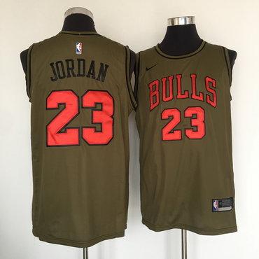 Chicago Bulls #23 Michael Jordan Olive Nike Swingman Jersey