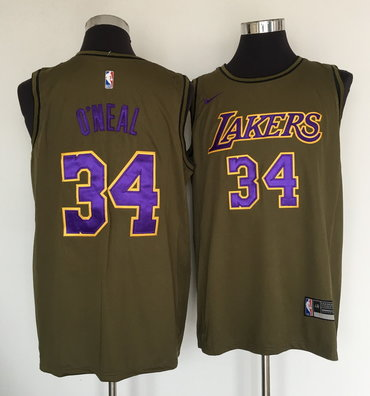 Los Angeles Lakers #34 Shaquille O'Neal Olive Nike Swingman Jersey
