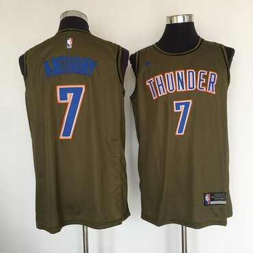 Oklahoma City Thunder #7 Carmelo Anthony Olive Nike Swingman Jersey