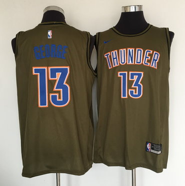 Oklahoma City Thunder #13 Paul George Olive Nike Swingman Jersey