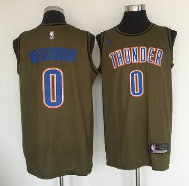 Oklahoma City Thunder #0 Russell Westbrook Olive Nike Swingman Jersey