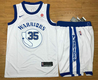 Men's Golden State Warriors #35 Kevin Durant White 2017-2018 Hardwood Classics Nike Rakuten Stitched Throwback NBA Jersey With Shorts