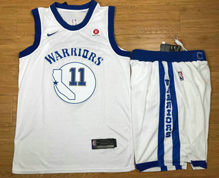 Men's Golden State Warriors #11 Klay Thompson White 2017-2018 Hardwood Classics Nike Rakuten Stitched Throwback NBA Jersey With Shorts