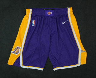 Men's Los Angeles Lakers Purple 2017-2018 Nike Swingman Stitched NBA Shorts