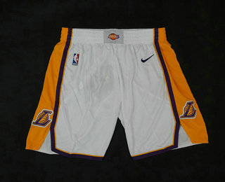 Men's Los Angeles Lakers White 2017-2018 Nike Swingman Stitched NBA Shorts