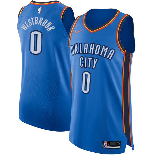 Nike Oklahoma City Thunder #0 Russell Westbrook Blue NBA Authentic Icon Edition Jersey