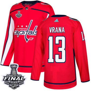 Adidas Capitals #13 Jakub Vrana Red Home Authentic 2018 Stanley Cup Final Stitched NHL Jersey
