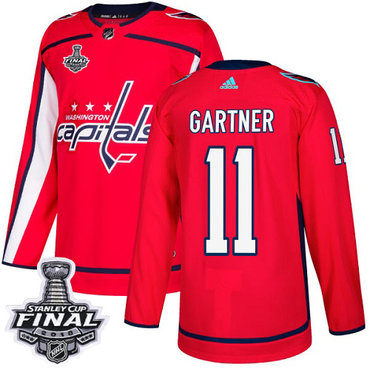Adidas Capitals #11 Mike Gartner Red Home Authentic 2018 Stanley Cup Final Stitched NHL Jersey