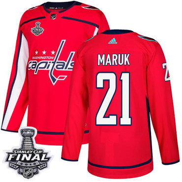Adidas Capitals #21 Dennis Maruk Red Home Authentic 2018 Stanley Cup Final Stitched NHL Jersey