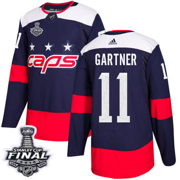 Adidas Capitals #11 Mike Gartner Navy Authentic 2018 Stadium Series Stanley Cup Final Stitched NHL Jersey
