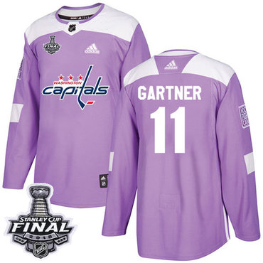 Adidas Capitals #11 Mike Gartner Purple Authentic Fights Cancer 2018 Stanley Cup Final Stitched NHL Jersey