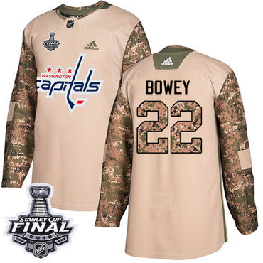 Adidas Capitals #22 Madison Bowey Camo Authentic 2017 Veterans Day 2018 Stanley Cup Final Stitched NHL Jersey