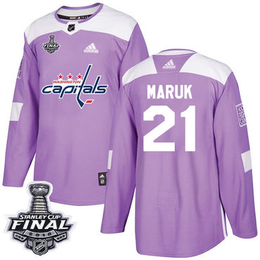 Adidas Capitals #21 Dennis Maruk Purple Authentic Fights Cancer 2018 Stanley Cup Final Stitched NHL Jersey