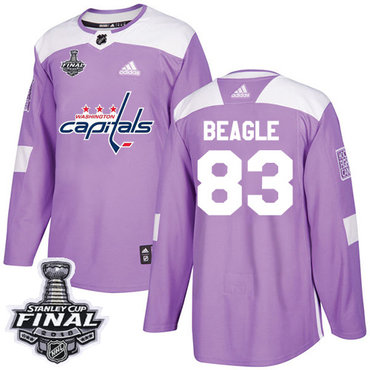 Adidas Capitals #83 Jay Beagle Purple Authentic Fights Cancer 2018 Stanley Cup Final Stitched NHL Jersey