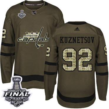 Adidas Capitals #92 Evgeny Kuznetsov Green Salute to Service 2018 Stanley Cup Final Stitched NHL Jersey